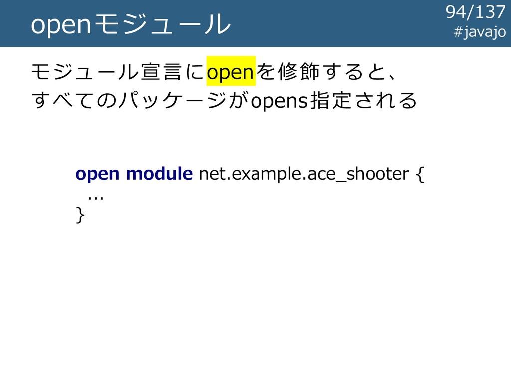 openモジュール モジュール宣言にopenを修飾すると、 すべてのパッケージがopens指定...
