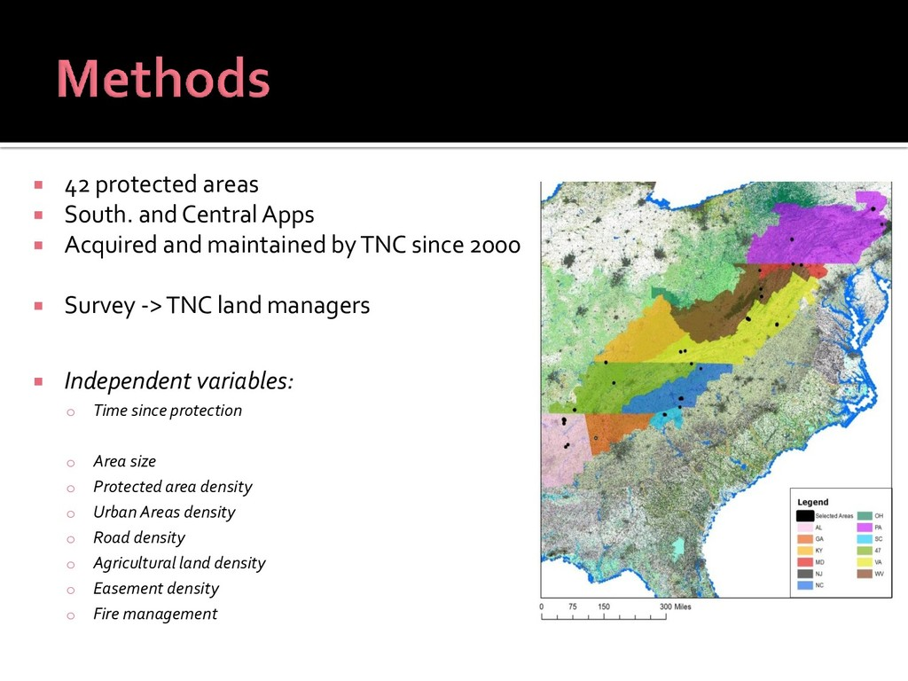  42 protected areas  South. and Central Apps ...