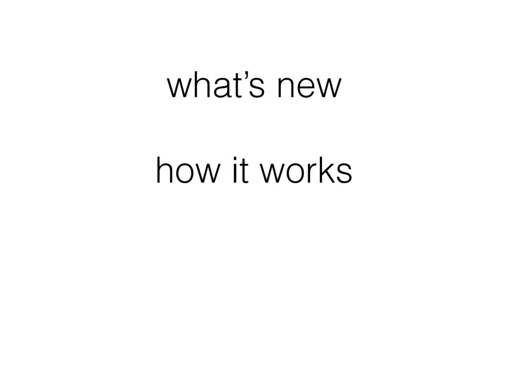 what's new how it works