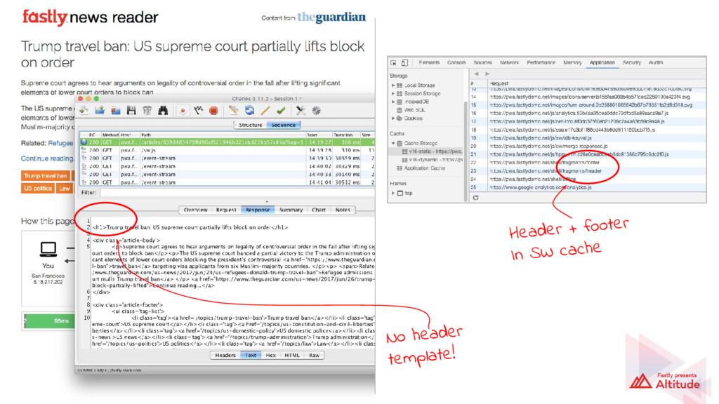 No header template! Header + footer In SW cache