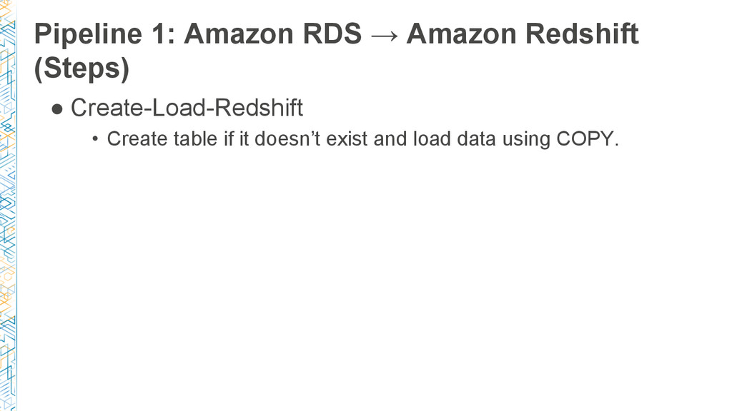 Pipeline 1: Amazon RDS → Amazon Redshift (Steps...
