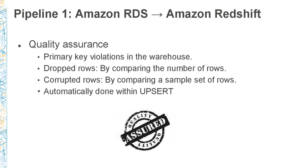 Pipeline 1: Amazon RDS → Amazon Redshift ● Qual...