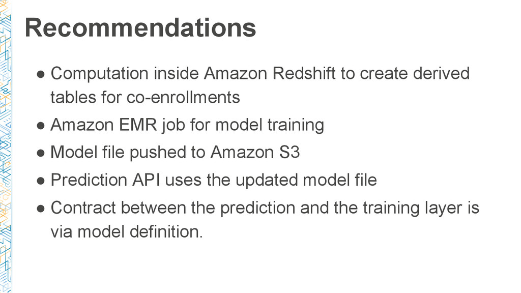 Recommendations ● Computation inside Amazon Red...