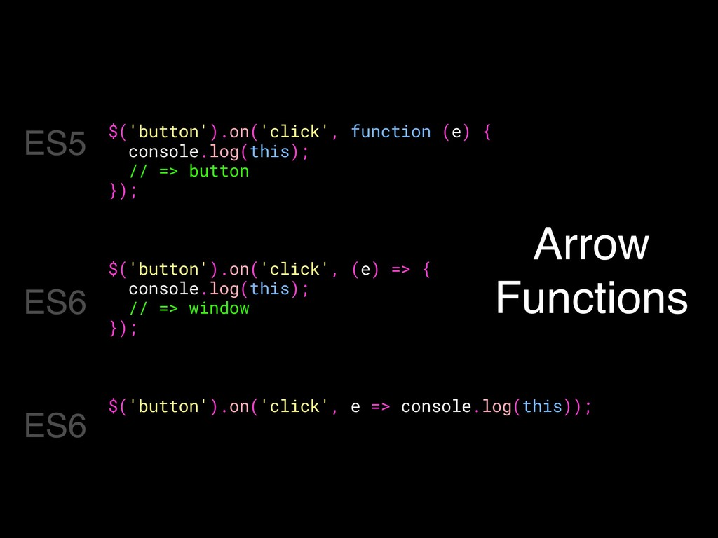 Arrow Functions $('button').on('click', functio...