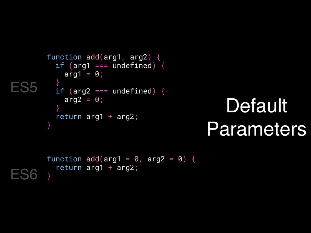 Default Parameters function add(arg1, arg2) { i...