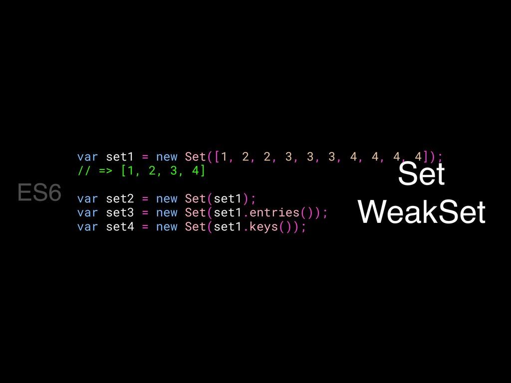 Set WeakSet var set1 = new Set([1, 2, 2, 3, 3, ...