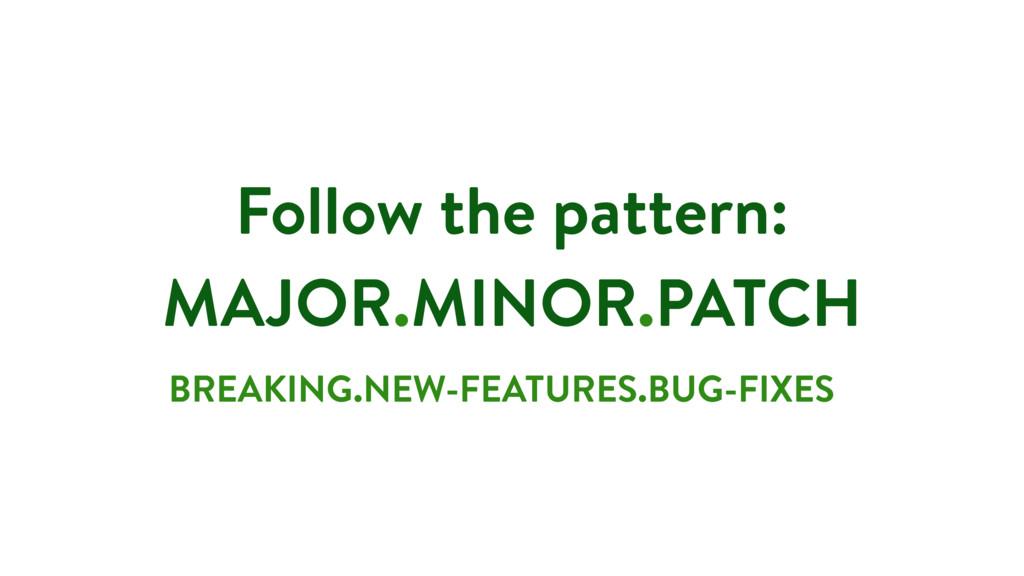 Follow the pattern: MAJOR.MINOR.PATCH BREAKING....
