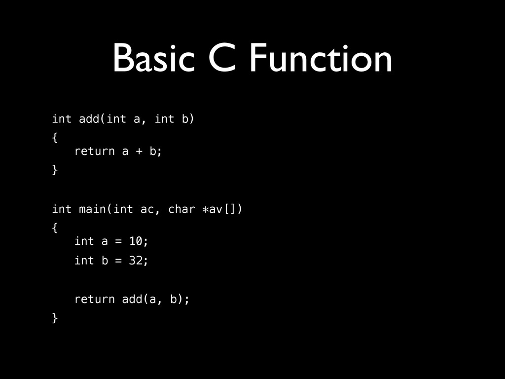 Basic C Function int add(int a, int b) {