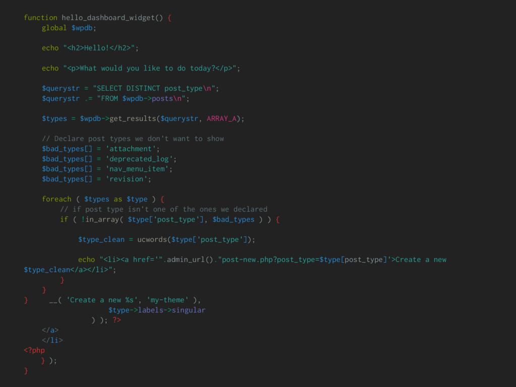 function hello_dashboard_widget() { global $wpd...