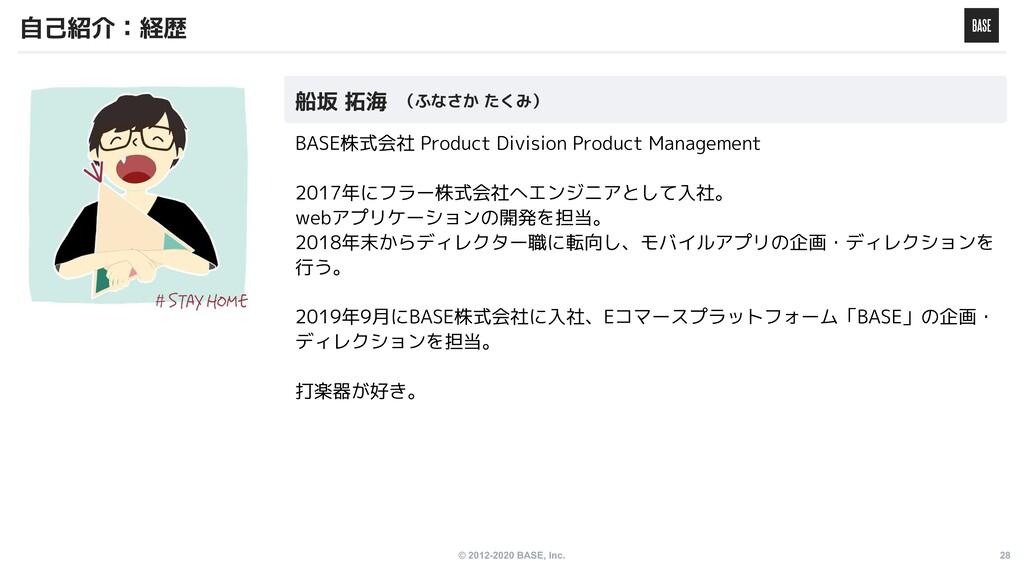 © 2012-2020 BASE, Inc. 28 BASE株式会社 Product Divi...