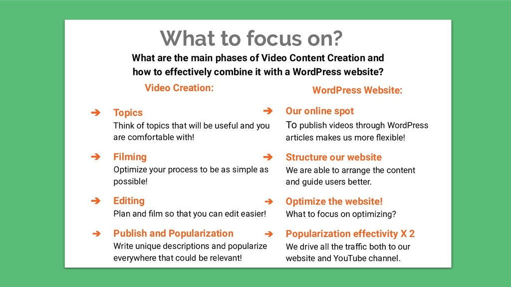 What to focus on? Video Creation: ➔ Topics Thin...