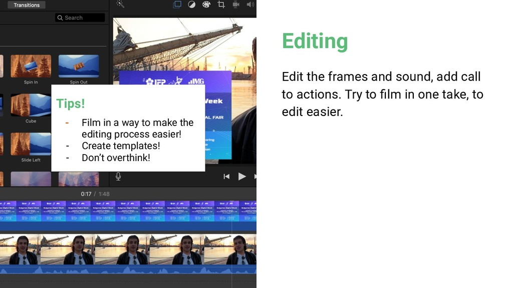 Editing Edit the frames and sound, add call to ...
