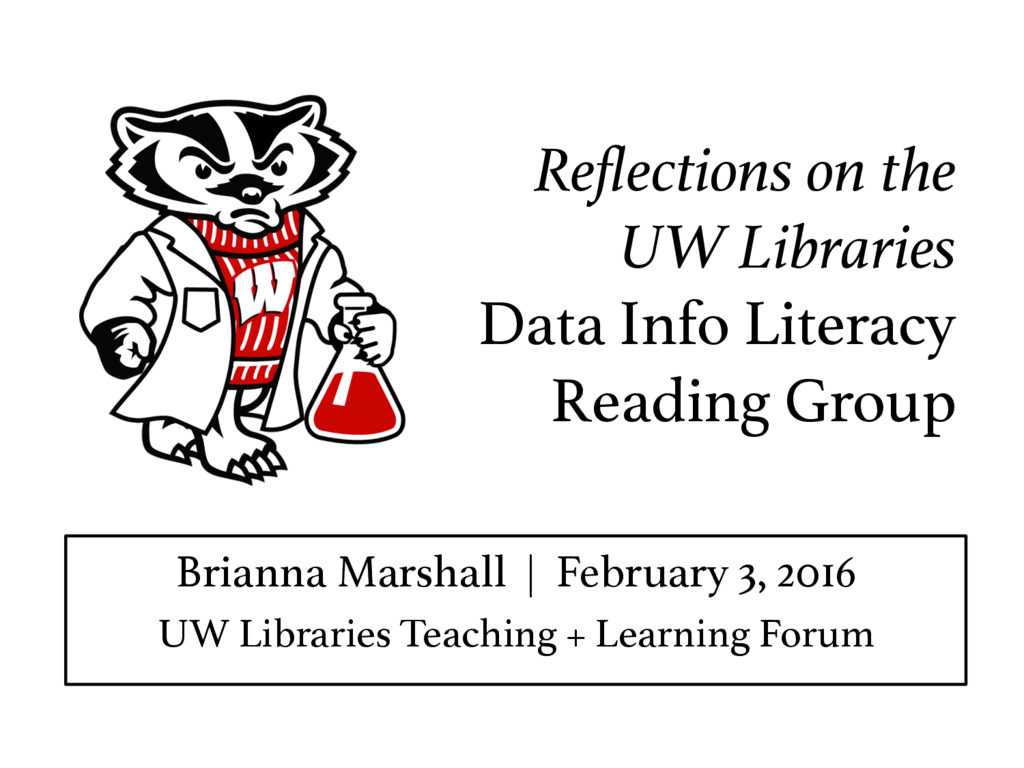 Reflections on the ! UW Libraries Data Info Lite...