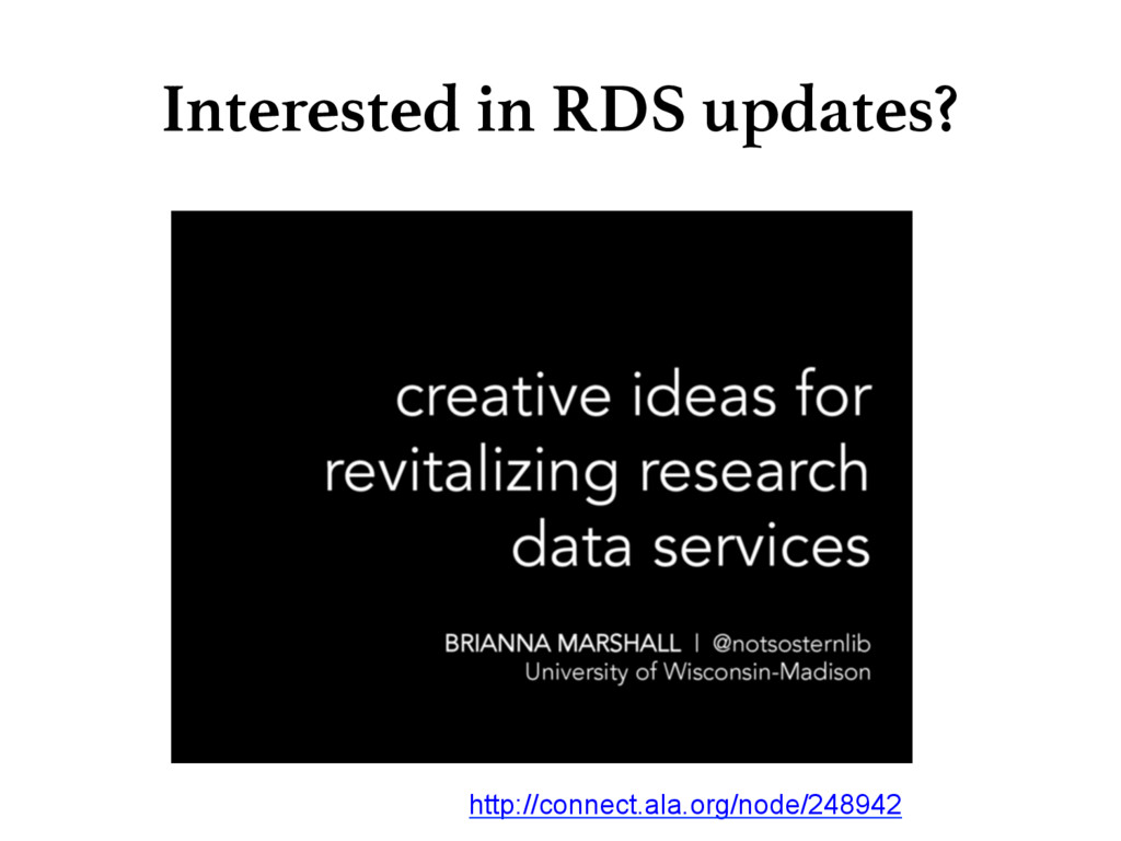 Interested in RDS updates? http://connect.ala....