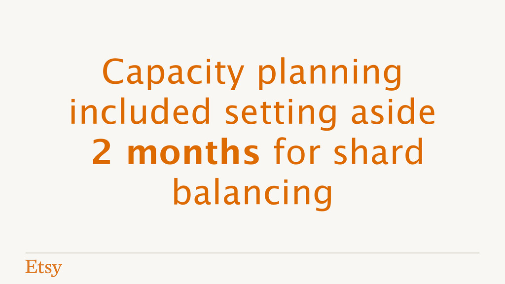 Capacity planning included setting aside