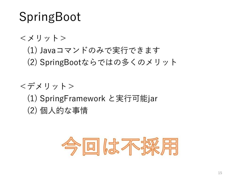 <メリット> (1) Javaコマンドのみで実行できます (2) SpringBootならでは...
