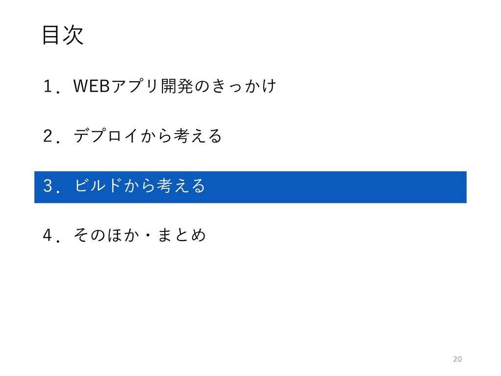 目次 1.WEBアプリ開発のきっかけ 2.デプロイから考える 3.ビルドから考える 4.そのほ...