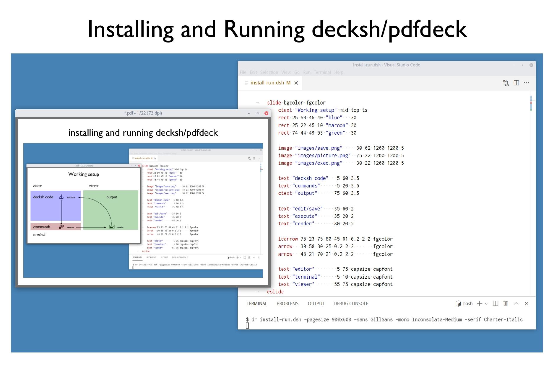 Installing and Running decksh/pdfdeck