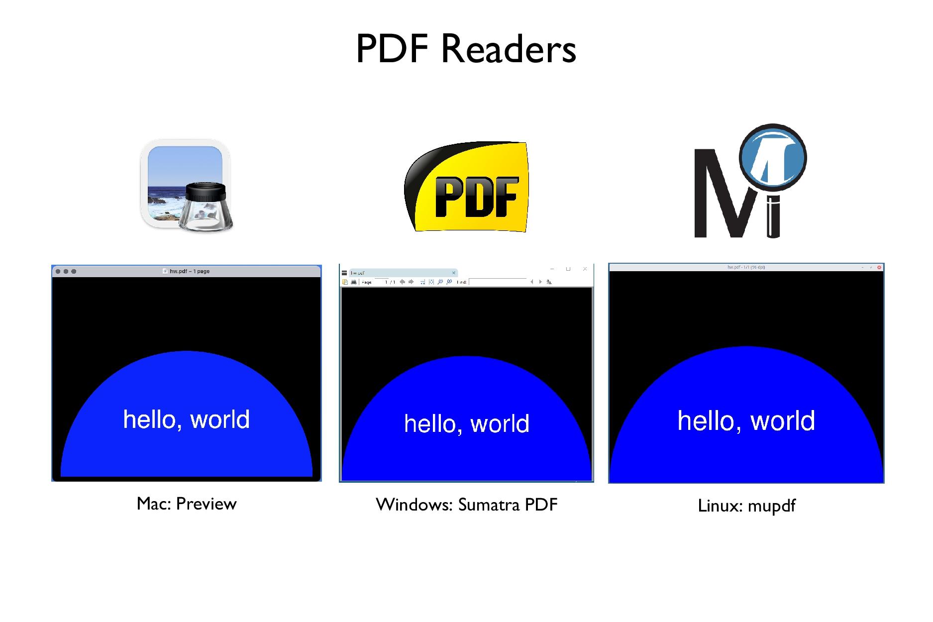 Mac: Preview Windows: Sumatra PDF Linux: mupdf ...