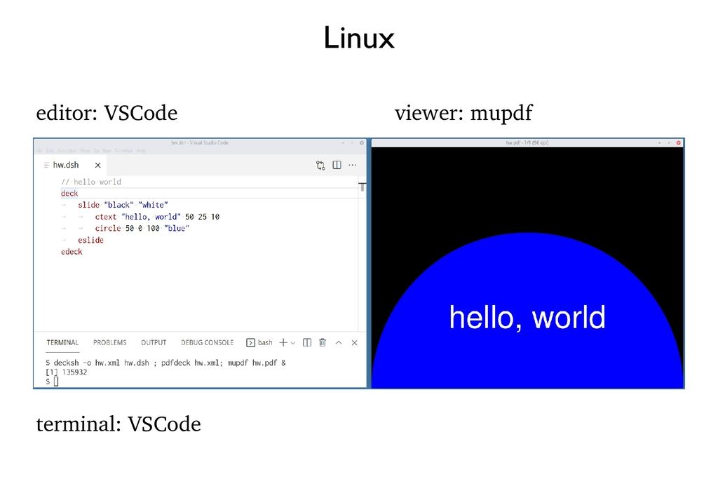 Linux editor: VSCode terminal: VSCode viewer: m...