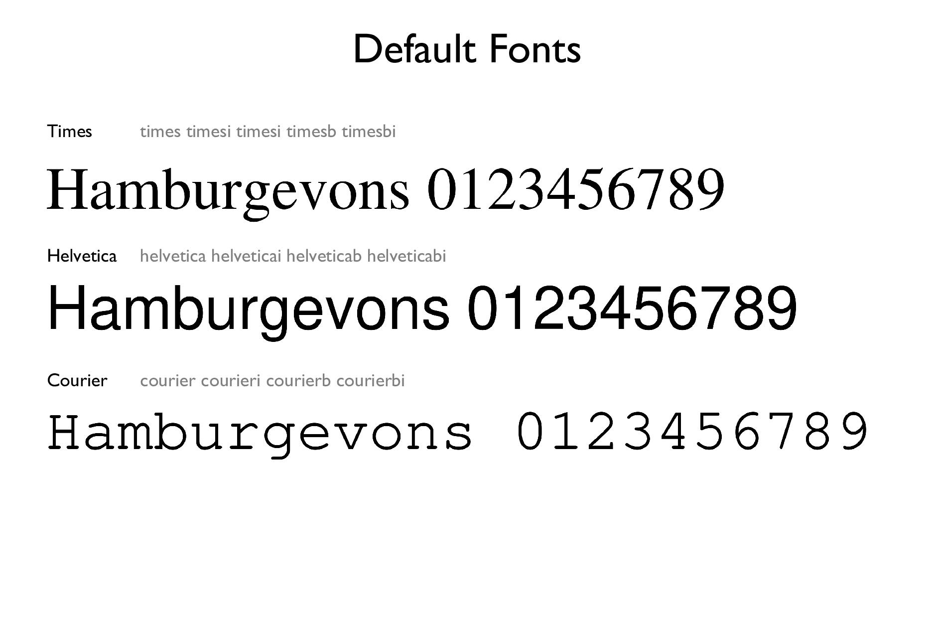 Default Fonts Times times timesi timesi timesb ...