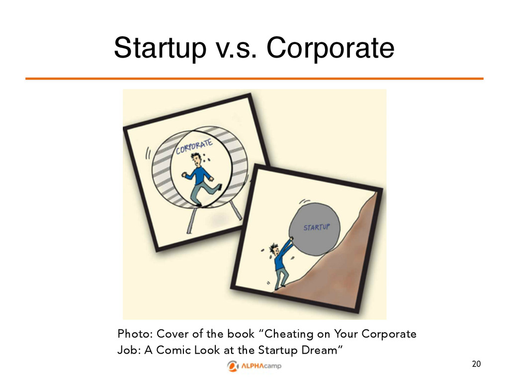 Startup v.s. Corporate Photo: Cover of the book...