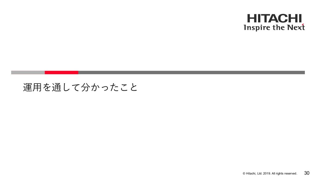 © Hitachi, Ltd. 2019. All rights reserved. 運⽤を通...