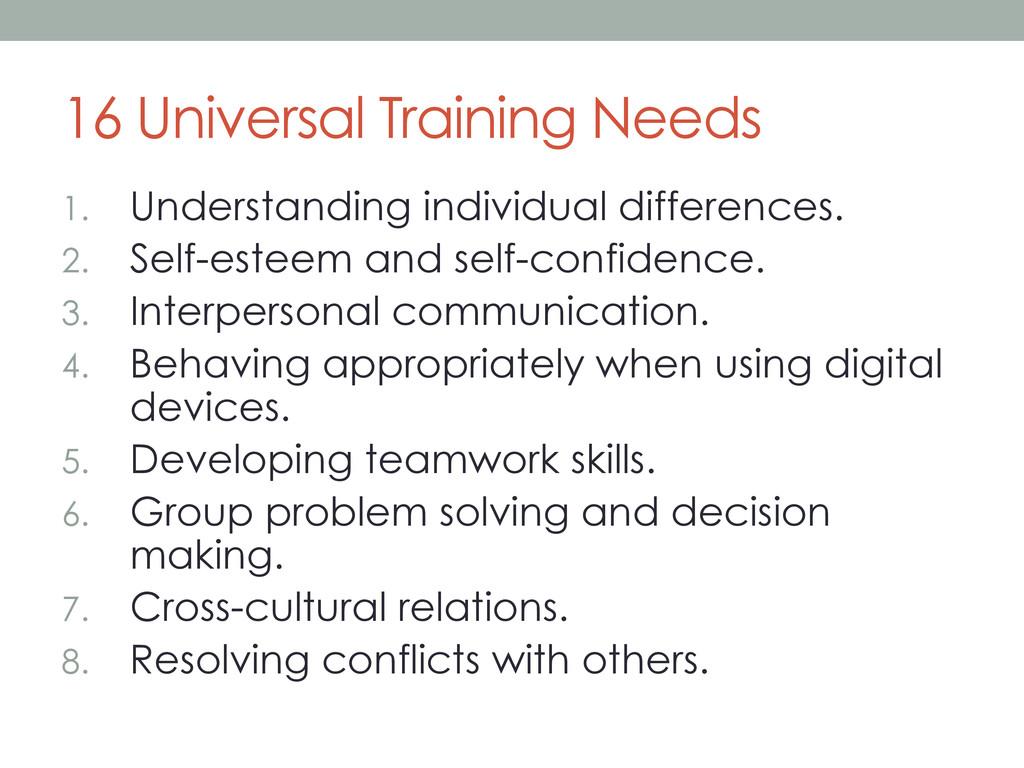 16 Universal Training Needs 1. Understanding i...