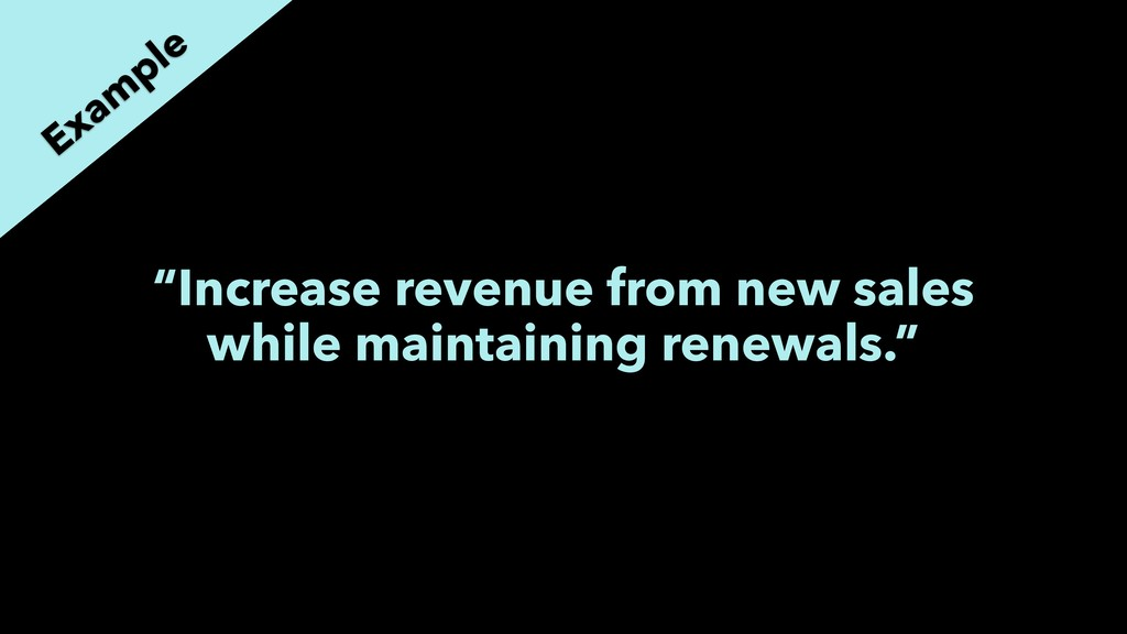 """Increase revenue from new sales while maintain..."
