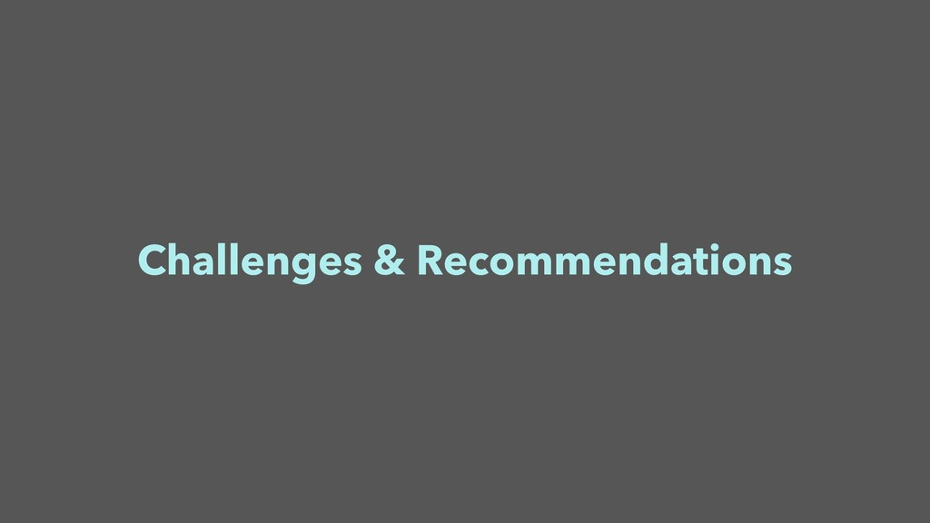 Challenges & Recommendations