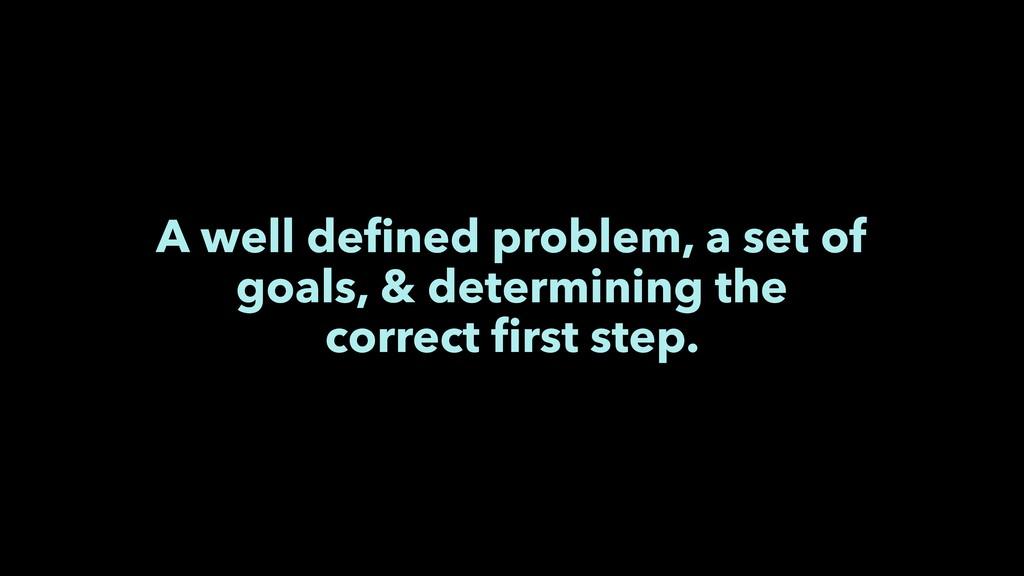 A well defined problem, a set of goals, & determ...