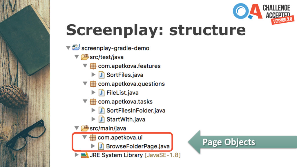 Screenplay: structure Page Objects