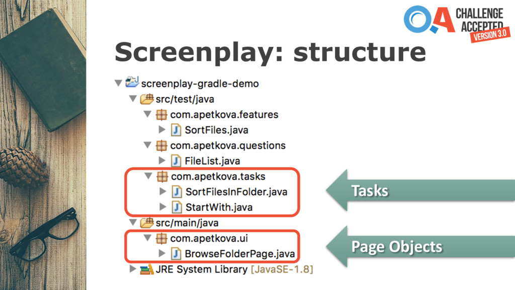 Screenplay: structure Tasks Page Objects