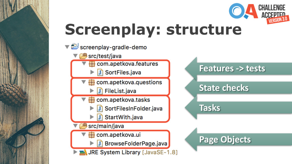 Screenplay: structure Features -> tests State c...