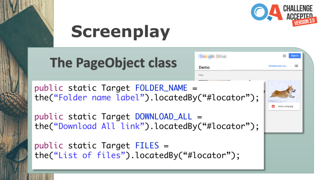 Screenplay The PageObject class public static T...