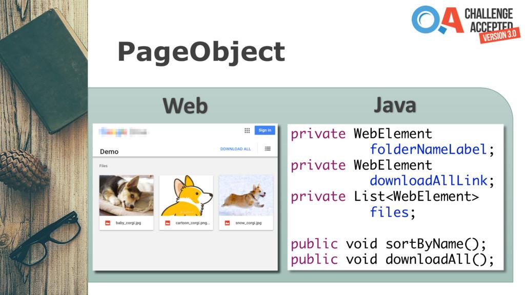 PageObject Web Java private WebElement folderNa...