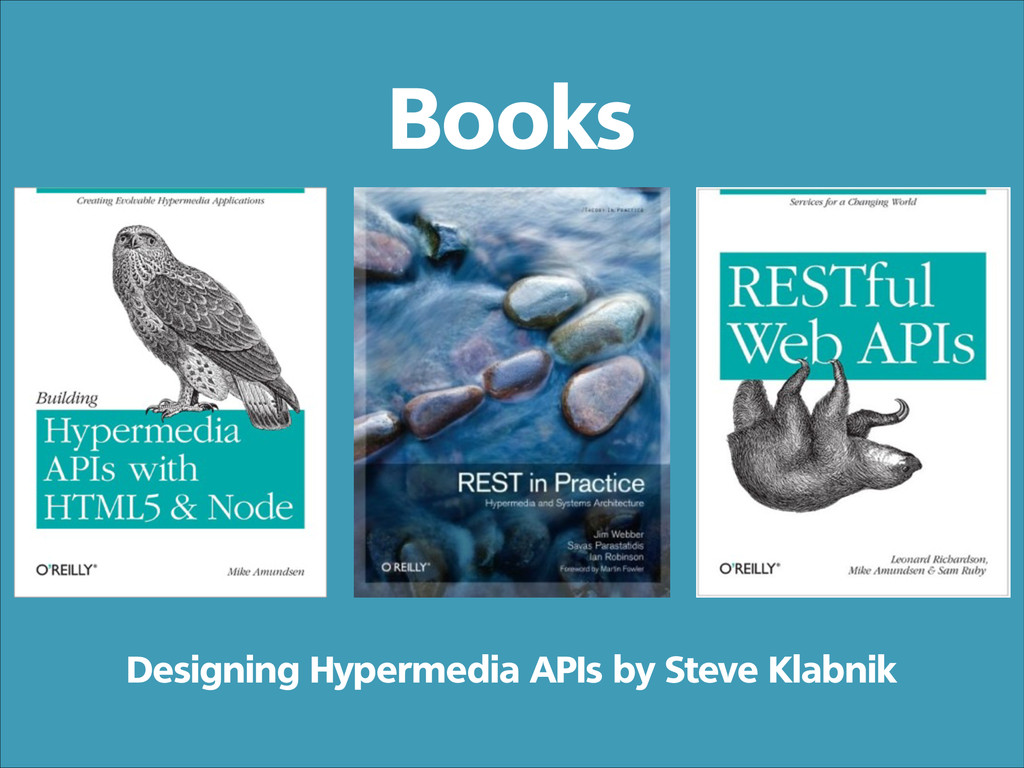 Books Designing Hypermedia APIs by Steve Klabnik