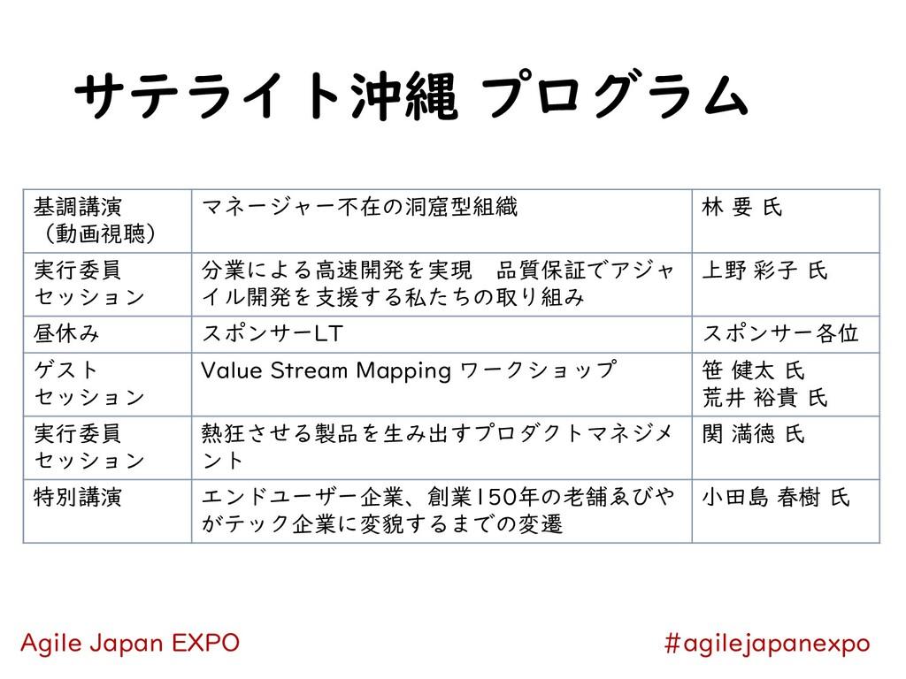 サテライト沖縄 プログラム #agilejapanexpo Agile Japan EXPO ...