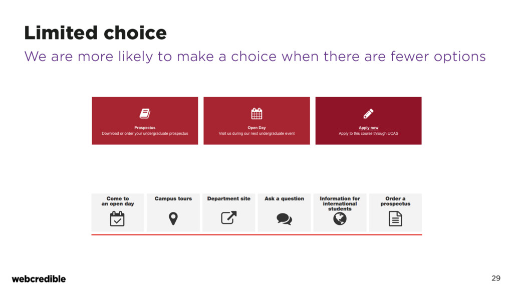 Limited choice 29 We are more likely to make a ...