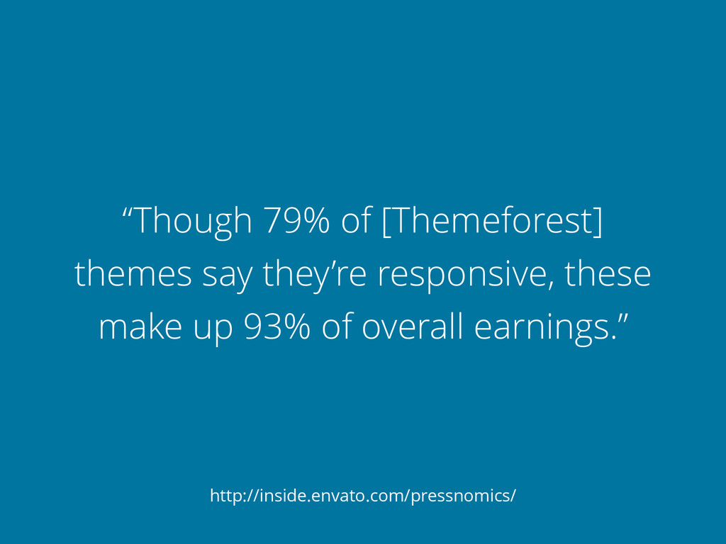 """Though 79% of [Themeforest] themes say they're..."