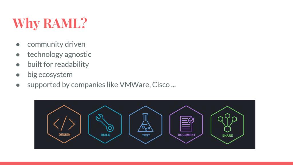 Why RAML? ● community driven ● technology agnos...