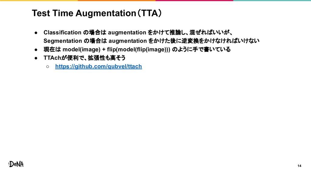Test Time Augmentation(TTA) ● Classification の場...