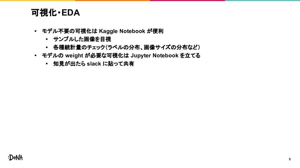 可視化・EDA • モデル不要の可視化は Kaggle Notebook が便利 • サンプル...