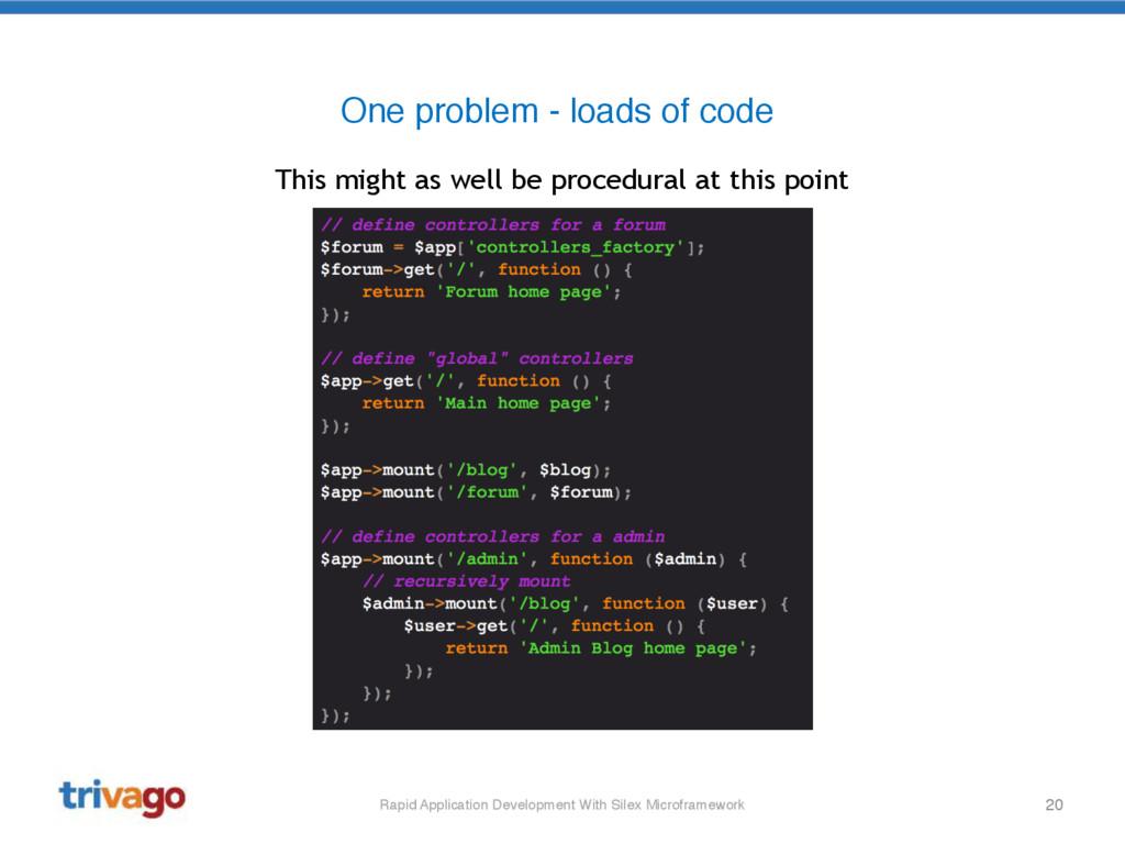 20 One problem - loads of code Rapid Applicatio...