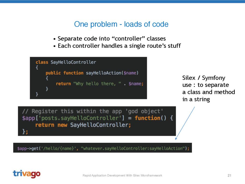 21 One problem - loads of code Rapid Applicatio...