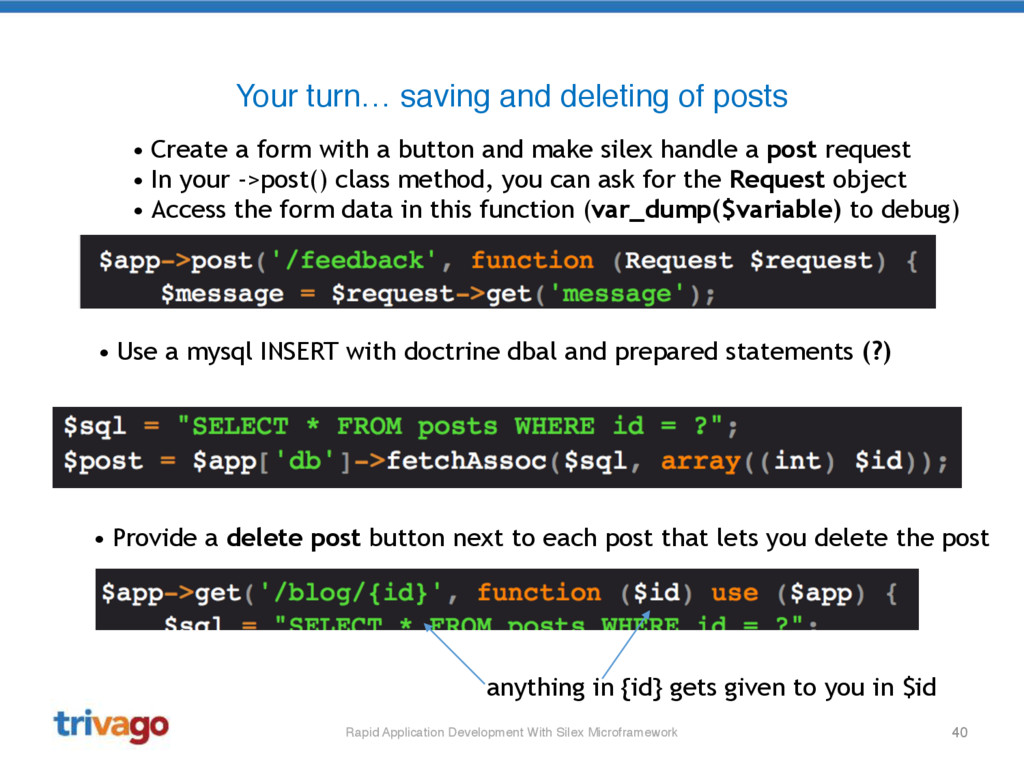 40 Your turn… saving and deleting of posts • Cr...