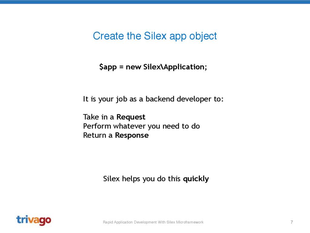 7 Create the Silex app object $app = new Silex\...