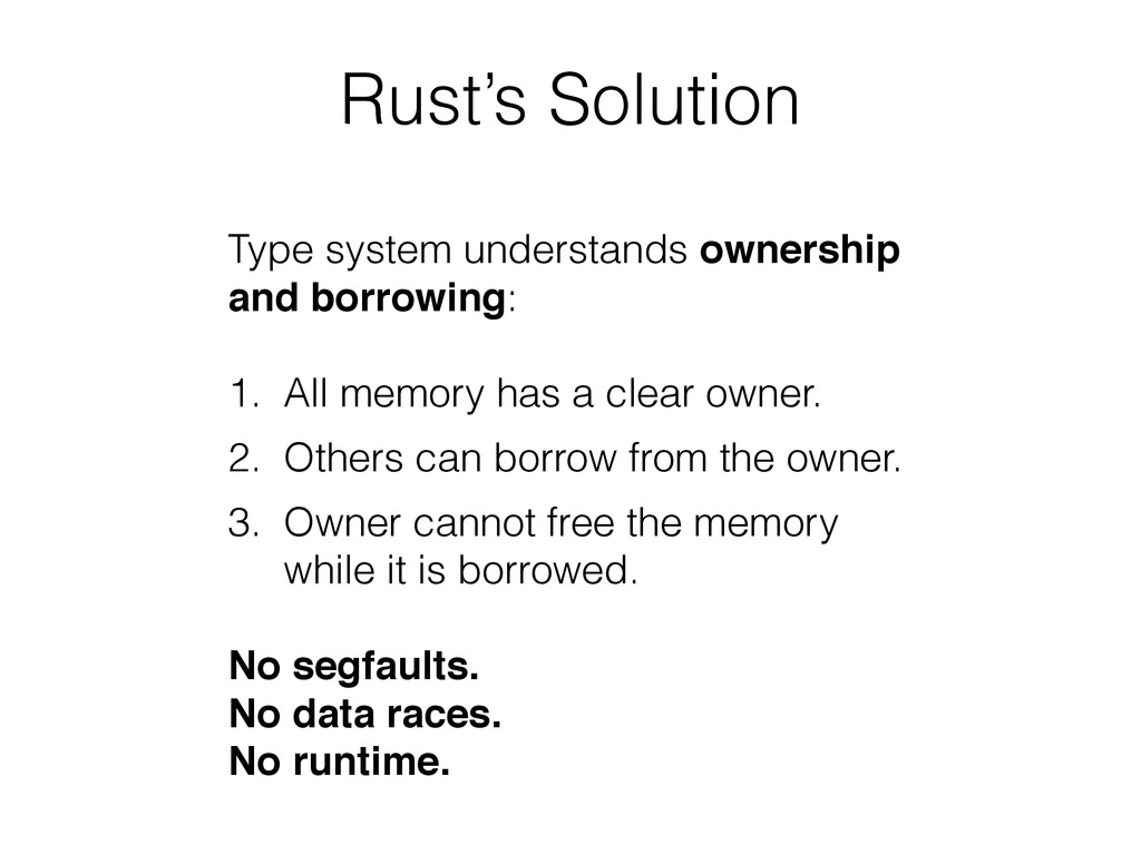 Rust's Solution Type system understands ownersh...