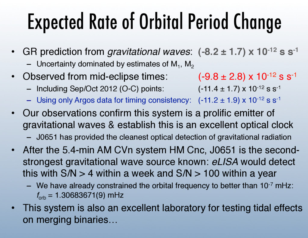 Expected Rate of Orbital Period Change •  GR pr...