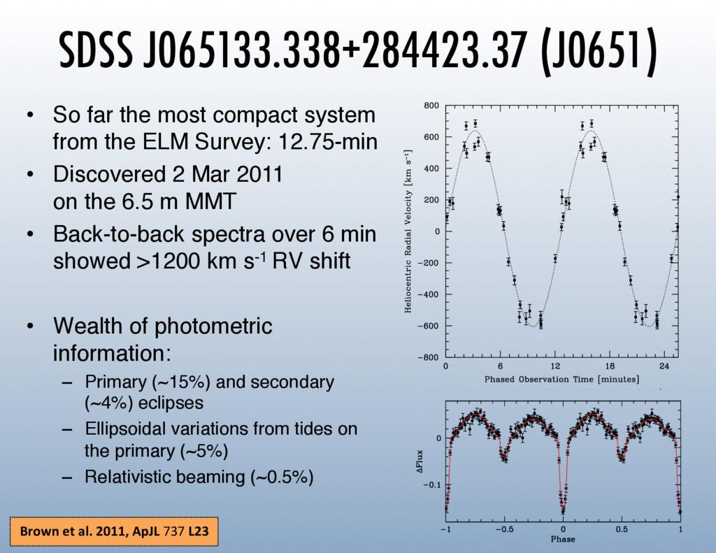 SDSS J065133.338+284423.37 (J0651) • So far th...